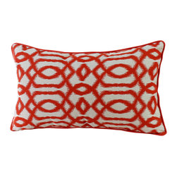 14 Karat Home - Gatsby Pillow, Orange - Create an unconventional and inviting look in your living space by adding this ikat inspired geometric design. This is a perfect accent pillow to spruce up your sofa.