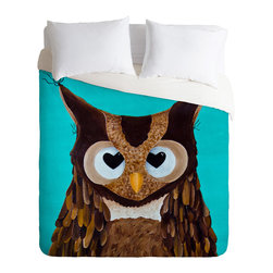 DENY Designs - Mandy Hazell Owl Love You Duvet Cover - Turn your basic, boring down comforter into the super stylish focal point of your bedroom. Our Luxe Duvet is made from a heavy-weight luxurious woven polyester with a 50% cotton/50% polyester cream bottom. It also includes a hidden zipper with interior corner ties to secure your comforter. it's comfy, fade-resistant, and custom printed for each and every customer.