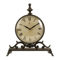 "IMAX - Eilard Iron Table Clock - Traditional iron table clock with roman numerals,  Item Dimensions: (14""h x 12.5""w x 4"")"
