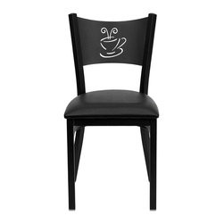 Flash Furniture - Hercules Series Black Coffee Back Metal Restaurant Chair - Black Vinyl Seat - Provide your customers with the ultimate dining experience by offering great food, service and attractive furnishings. This heavy duty commercial metal chair is ideal for Restaurants, Hotels, Bars, Lounges, and in the Home. Whether you are setting up a new facility or in need of a upgrade this attractive chair will complement any environment. This metal chair is lightweight and will make it easy to move around. For added comfort this chair is comfortably padded in vinyl upholstery. This easy to clean chair will complement any environment to fill the void in your decor.