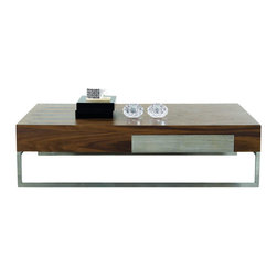 J&M Furniture - J&M Furniture Modern Coffee Table 107A in Walnut - The 107A Modern Coffee Table is product of beautiful craftsmanship. Made from real wood veneer, and paired with chrome legs for a elegant finish.