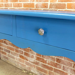 """Coastal Blue Console Table with Scalloped Apron - This whimsical console table will certainly add a pop of color to any room in your home.  Painted in Ben Moore Blueberry Blue, this is a sneak peak of the first of 2 colors to be applied. Being a bright and summery color, we thought it would be fun to photograph it anyway before we apply the black top color. The scalloped apron and cabriole legs make this a fun piece to say the least. The 3 drawers were added for extra storage and are seen with the customers hand selected hardware. Size in photo:  6' l x 20""""d x 36"""" h."""