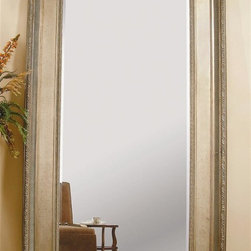 Bassett Mirror - Beveled Rectangular Leaner Mirror in Silver L - A natural in your traditional bedroom or hallway, this large leaning mirror has plenty of handcrafted highlights. You'll certainly admire its corner leaf details, along with silver-tone accents. Quality beveled plate glass gives you years of clean, crisp reflections. Decorative mirror. Overall: 56 in. L x 92 in. H (136 lbs.). Glass: 36 in. L x 72 in. H