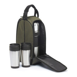 """Picnic Plus - Coffee Companion, Brown - Picnic Plus Coffee Companion Travel Mug, Thermos Bottle Coffee Set, Brown. Color/Design: Brown; Durable 600D polyester exterior; With two large stainless steel travel mugs; Full size 1L stainless steel vacuum flask. Dimensions: 9""""W x 6""""D x 14""""H"""
