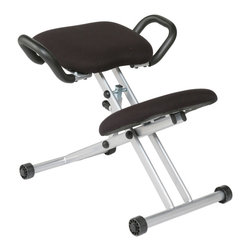 Euro Style - Harold Knee Chair - Black/Aluminum - This chair would look right at home at the gym. And fitness IS what it's designed for. Many physicians and users swear by this design. With your weight primarily on your knees, your seat angled forward, your back ends up in a position to take care of itself. Brilliant.