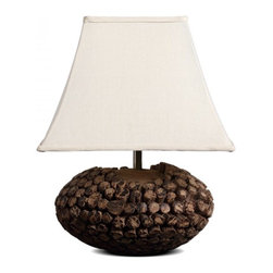 ParrotUncle - Large Square Bell Shade Country Style Wooden Table Lamp - This table lamp is piled up with short wood on a large piece of solid wood to ellipse shape, makes steady base. Large trapezoid fabric lamp shade gives you more warm lights. It is stylish for your home decoration. Handmade Wooden Artistic Desk Lamp with Large Trapezoid Fabric Shade