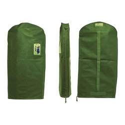 Z Racks - Green Garmento Garment Bag in Green Grass - A Duffel Bag and A Dry Cleaning Bag!. Use as a hanging hamper. Breathable & water resistant. Full Length Zipper. An eco-friendly, stylish, & practical alternative to single-use plastic dry-cleaning bags.  5.25 in. Side Gussets. 48 in. L x 25 in. WThe Green Garmento long bag is an attractive, affordable, and reusable 4-in-1 garment bag that is perfect for long dresses, most coats, suits, slacks, sweaters and tops. It also makes a great duffel bag!  All of our Green Garmentos have 5.25 in. side gussets to gently hold multiple items as well as a full length side zipper for easy access to all of your hanging clothes.  By switching to The Green Garmento, YOU will help to drastically reduce the negative impact of single-use plastic bags.