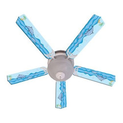 Ceiling Fan Designers Kids Playful Dolphins Indoor Ceiling Fan - The Ceiling Fan Designers Kids Playful Dolphins Indoor Ceiling Fan is a practical way to bring the sea home. This ceiling fan has an ocean blue dolphin design that will cool down and light up your room in style. This ceiling fan and light kit combo comes in your choice of size: 42-inch with 4 blades or 52-inch with 5. The blades are reversible so you get twice the style: the colorful design on one side and white on the other. It has a powerful yet quiet 120-volt, 3-speed motor with easy switch for year-round comfort. The 42-inch fan includes a schoolhouse-style white glass shade and requires one 60-watt candelabra bulb (not included). The 52-inch fan has three alabaster glass shades and requires three 60-watt candelabra bulbs (included). Your ceiling fan includes a 15- to 30-year manufacturer's warranty (based on size).