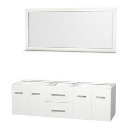 """Wyndham Collection - Centra Bathroom Vanity in White,No Top,No Sinks,70"""" Mir - Simplicity and elegance combine in the perfect lines of the Centra vanity by the Wyndham Collection. If cutting-edge contemporary design is your style then the Centra vanity is for you - modern, chic and built to last a lifetime. Available with green glass, pure white man-made stone, ivory marble or white carrera marble counters, with stunning vessel or undermount sink(s) and matching mirror(s). Featuring soft close door hinges, drawer glides, and meticulously finished with brushed chrome hardware. The attention to detail on this beautiful vanity is second to none."""