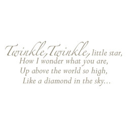 "WallPops - Twinkle, Twinkle - Wall Wishes Wall Decals - A classic poem for your wall, ""Twinkle, Twinkle, Little Star"" Wall Wishes brings this beloved nursery rhyme to life. Inspire a song with these words on your wall while creating a great decor focal point for a nursery or child's room. Twinkle, Twinkle Wall Wishes come on a single 17 1/4"" x 39"" sheet and contains 15 total pieces."