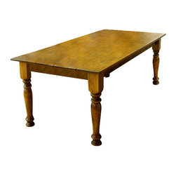 """Designs In Wood - 7' Pine Farm Table, Peach, 7'x40"""" - Classic Farm table with Pine top, base crafted of Pine, complete with 3 1/2"""" turned legs. Top has been hand planed and entire table has been distressed and finished with three coats of tough guard lacquer. Easy to clean, just wipe with a damp cloth. We have been in business for over 30 years and specialize in custom farm tables."""
