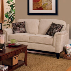 Coaster - Carver Collection Beige Transitional Love Seat - This casual styled group is covered in a soft beige chenille fabric. Exposed wood frame with flared legs add to the overall look for this set. Accent pillows are included.