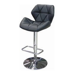 """Whiteline - Aaron Bar Stool in Black - Aaron Bar Stool; Padded and tufted black leatherette stool with a chrome base for stability; Adjustable height.; Color: Black; Primary Material: Leatherette/Chrome; Assembly not required; Weight: 22 lbs; Dimensions: 19""""L x 22""""W x 33/42""""H"""