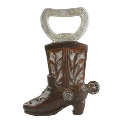HomArt - Cowboy Boot Bottle Opener - Open your bottles with the quirky Cowboy Boot Bottle Opener. Featuring distressed rust-colored cast iron with silver accents, this boot opener makes a perfect addition to rustic kitchen decor.