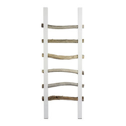 ecofirstart - Driftwood Towel Rack - Glossy white, lacquered side poles provide stark contrast to the natural driftwood rungs of this stunning towel rack. Bring a natural touch to your bathroom with a piece of functional art, or use it to hold extra throws and quilts in the bedroom or living area.