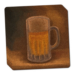 "Made on Terra - German Beer Mug Thin Cork Coaster Set of 4 - You're just cleaning up after your epic party when you realize it... something's different. Unlike all those other times, you're not mopping up cup condensation from your counters and tables. This time, everyone used a coaster. Everyone. Maybe it's because you handed out a coaster with every glass. No. You've tried that before. No, this time it's because of the actual coasters. You found the cutest Made On Terra printed cork coasters. You love that everyone commented on how unique they were,  from the light-weight, thin cork material to the printing that creates a cool and subtle effect. Plus, they're really absorbent, but dry quickly. And they're made from an eco-friendly, sustainable resource, so that makes you feel pretty great, too. Choose from Made on Terra's many fabulous cork coasters. Measures 4"" x 4"" x 1/8"". Made of thin cork. Super cute and nicely absorbent. Sold in sets of four."