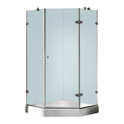 Vigo - Vigo 36 x 36 Frameless Neo-Angle 3/8in.  Clear/Brushed Nickel Shower Enclosure w - Both dramatic and space-saving, the Vigo frameless neo-angle shower enclosure creates a beautiful focal point for your bathroom.