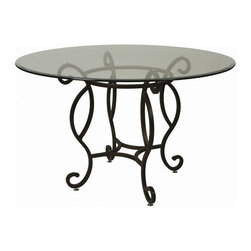 """Pastel Furniture - Pastel Furniture Atrium 28 Inch Round Table w/ Glass Top in Autumn Rust - This Traditional Atrium dining table with 48"""" round glass with an intricate iron base design. This beautifully made table will add style and beauty to your dining area."""