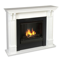 Real Flame - Ashley Indoor Ventless Gel Fireplace in White - Uses clean burning Real Flame Gel fuel emitting up to 9,000 BTUs of heat per hour lasting up to 3 hours. Solid wood and veneered MDF construction. Uses Real Flame 13 Oz. gel fuel, not included.. Comes complete with mantel, firebox, hand-painted cast concrete log, and screen kit. . 48.03 in. W x 13.78 in. D x 41.64 in. H (98 lbs.)Best selling item! Handsome pillars with curved supports create an understated elegance in any room. Uses 13 oz. cans of Real Flame gel fuel.