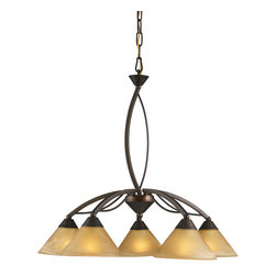 Elk Lighting - EL-7646/5 Elysburg 5-Light Chandelier in Aged Bronze - The geometric lines of this collection offer harmonious symmetry with a sophisticated contemporary appeal. A perfect complement for kitchens, billiard parlors, or any area that requires direct lighting. Featured in satin nickel with white marbleized glass or aged bronze finish with tea stained brown swirl glass.