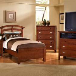 Vaughan Bassett - Twin Size Arched Panel Bedroom Set in Cherry - Includes twin size panel bed, nightstand, chest and media cabinet. Cherry finish. Assembly required. Twin size panel bed:. Includes arched headboard, platform footboard and wood rails. Arched headboard: 45 in. L x 2.5 in. W x 52 in. H. Platform footboard: 42 in. L x 2.5 in. W x 21 in. H. Wood rails: 74 in. L x 6 in. W x 1 in. H. Nightstand:. 2 Drawers. 26 in. W x 16 in. D x 29 in. H. Chest:. 5 Drawers. 38 in. W x 18 in. D x 51 in. H. Media cabinet:. 3 Drawers. 1 Component shelf. 43 in. W x 18 in. D x 43 in. H. Under bed storage box: 52 in. L x 19 in. W x 7.5 in. H (optional)