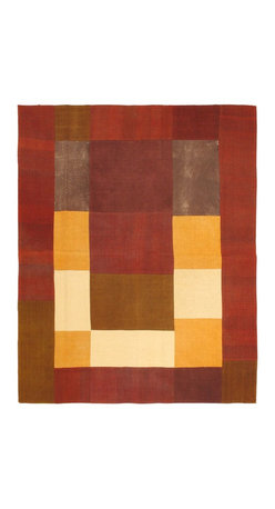 """Torabi Rugs - Flat-weave Bohemian Burgundy Wool Kilim 6'7"""" x 8'2"""" - This patchwork rug is made of vintage classic kilim pieces which are sewn together to form a truly one of a kind larger rug. This quirky and eclectic piece is painstakingly hand stitched. Light weight, this can also be used as a bedspread or throw. A colorful and updated vision of style, color and texture."""