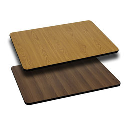 """Flash Furniture - 30'' x 60'' Rectangular Table Top with Natural or Walnut Reversible Laminate Top - Complete your restaurant, break room or cafeteria with this reversible table top. The reversible laminate top features two different laminate finishes. This table top is designed for commercial use so you will be assured it will withstand the daily rigors in the hospitality industry.; Reversible Restaurant Table; 1.125"""" Thick Round Table Top; Bi-Color Laminate Top; Natural On One Side, Walnut on the Other; High Impact Melamine Core; Black T-Mold Protective Edging; Designed for Commercial Use; Available In 6 Sizes: 24"""" x 30"""" to 30"""" x 60""""; Assembly Required: Yes; Country of Origin: China; Warranty: 2 Years; Weight: 52 lbs.; Dimensions: x 30""""W x 60""""D"""