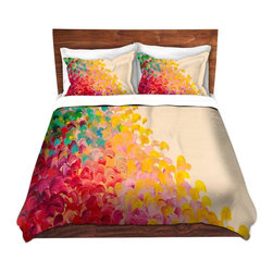 DiaNoche Designs - Duvet Cover Microfiber by Julia Di Sano - Creation in Color 2 - Super lightweight and extremely soft Premium Microfiber Duvet Cover in sizes Twin, Queen, King.  This duvet is designed to wash upon arrival for maximum softness.   Each duvet starts by looming the fabric and cutting to the size ordered.  The Image is printed and your Duvet Cover is meticulously sewn together with ties in each corner and a hidden zip closure.  All in the USA!!  Poly top with a Cotton Poly underside.  Dye Sublimation printing permanently adheres the ink to the material for long life and durability. Printed top, cream colored bottom, Machine Washable, Product may vary slightly from image.