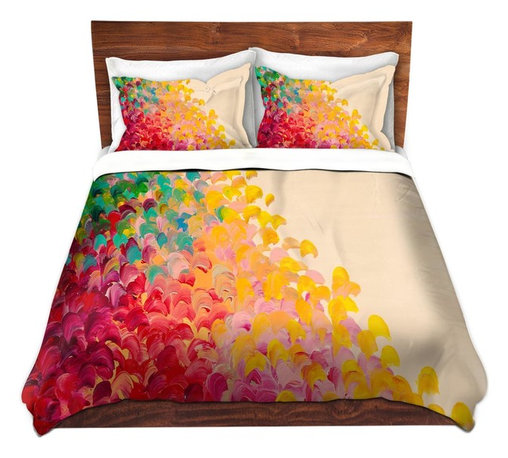 DiaNoche Designs - Duvet Cover Microfiber by Julia Di Sano - Creation in Color 2 - DiaNoche Designs works with artists from around the world to bring unique, artistic products to decorate all aspects of your home.  Super lightweight and extremely soft Premium Microfiber Duvet Cover (only) in sizes Twin, Queen, King.  Shams NOT included.  This duvet is designed to wash upon arrival for maximum softness.   Each duvet starts by looming the fabric and cutting to the size ordered.  The Image is printed and your Duvet Cover is meticulously sewn together with ties in each corner and a hidden zip closure.  All in the USA!!  Poly microfiber top and underside.  Dye Sublimation printing permanently adheres the ink to the material for long life and durability.  Machine Washable cold with light detergent and dry on low.  Product may vary slightly from image.  Shams not included.