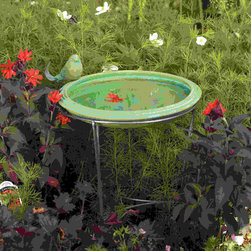 Ancient Graffiti - Bird Bath Teal Round Standing - Teal colored, round, standing ceramic birdbath decorated with matching metal-tailed bird. Sturdy metal stand for placing anywhere in the garden.