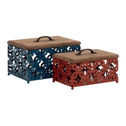 Simply Beautiful Metal Wood Box, Set of 2 - Description: