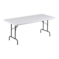Correll Inc - Standard Height Folding Table - Anti Microbia - Choose Model: T-Leg Folding TableNot a coating. Molded with a special FDA and EU approved anti-microbial compound for plastic. Not wear off, scratch off, or wash off. Light weight, waterproof, and virtually indestructible blow-molded plastic top. Resists damage even from gasoline, paint remover, battery acid, and drain cleaner. Paint and permanent marker can be removed without damage. Strong steel ladder frame. 1 in. 18 gauge steel pedestal legs. Mar-proof plastic foot caps. Automatic lock-open mechanism. For long life in commercial use . Gray Granite with Black frame finish. 30 in. W x 72 in. L x 29 in. H