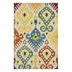 "Loloi Rugs - Loloi Rugs Milano Collection - Multi, 2'-6"" x 7'-6"" - The Milano Collection from India celebrates popular, high-fashion Ikats, but with a twist. Here, a chunky, hand-hooked construction in 100-percent wool adds lush texture and dimension to this series of nine distinctive, large-scale Ikat patterns. Complemented with a designer palette that will enliven any room, the Milano Collection comes in a full spectrum of up-to-date brights and neutrals."