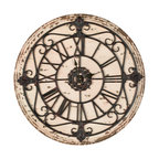 Safavieh - Jerry Clock - Classic and timeless in design, the Jerry wall clock is crafted with distressed fir wood face and charming metal scroll detail. As much decorative as functional the Jerry clocks Old World elegance make it seem as if its been in the family for ages.