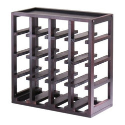 Winsome Wood - Kingston Slot Wine Cube, 16 Bottles - Our Kingston Slot Wine Cube is designed to stand alone or as a modular piece which holds 16 bottles and is stackable. This Slot Cube is made of sturdy wood with espresso finish.