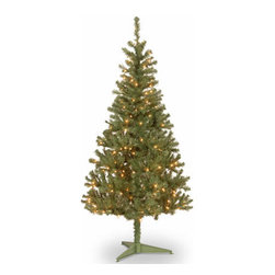 6 Ft. Canadian Grande Fir Wrapped Christmas Tree w/ 200 Clear Lights - Measures 6 feet tall with 36 inch diameter. Pre-lit with 200 UL listed, pre-strung Clear lights. Tip count: 550. Comes in two sections for quick and easy set-up. Includes tree stand. Light string features BULB-LOCK to keep bulbs from falling out. If one bulb burns out, others remain lit. Fire-resistant and non-allergenic. Includes spare bulbs and fuses. 5-year tree warranty / 2-year lights warranty. Packed in reusable storage carton. Assembly instructions included.