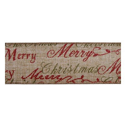 "Merry Christmas Ribbon - Hang this burlap ""Merry Christmas"" ribbon vertically on your Christmas tree for an extra special elegant touch."