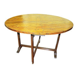 French Wine Tasting Table Circa 1850s - Bottoms Up! A handsome and chic antique French Wine tasting tilt top table.  This piece hails from a Burgundy vineyard. Solid oak and pins and steady for daily use-can be fixed open permanently also.