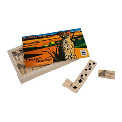 Trademark Global - African Cheetah Wood Dominoes Game - Age group: 4 plus. Number of players: 2-4. Wood storage case. 28 Wood dominoes. Forest Stewardship Council certified. Storage case: 7.87 in. W x 4.75 in. D x 1.12 in. H. dominoe: 2 in. W x 1 in. D x 0.37 in. HPlay dominoes with the fastest feline on the planet. Use the cheetah's distinctive marking to tell apart the game pieces and to outwit your challenger. This domino set will transport you to Namibia: home to woodland savannas and lush flood plains, mountain zebras and African elephants, and of course cheetahs. Like each game in the Wildlife Conservation Collection, the habitat features in the design is under threat and action is needed to protect it. Support an environmentally sustainable lifestyle and the World Wildlife Fund with these fun and educational games from Terra! 2011 is the International Year or Forests. Declared by the United Nations General Assembly, the aim of this is to conserve and raise awareness on sustainable management and development of all types of forests in the world. It is vitally important for us to do our best to help protect and rebuild the world's forest. Now, you can do so by buying FSC certified products like these great games! This is the most trusted symbol for responsibly managed forests and signifies compliance with the highest social and environmental standards. Enjoy learning about and supporting the protection of the endangered species represented in these Wildlife Conservation Collection games while simultaneously promoting the conservation and protection of forests worldwide. Approximately 5% from the sale of this product will be donated to support WWF's global conservation efforts.