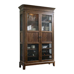 Hooker Furniture - Hooker Furniture Classique Two Door Display Cabinet in Medium Chestnut - Hooker Furniture - Curio Cabinets - 506775906 - Soft edges. Artful curves. Beveled turnings. Classic becomes fresh through design details and a beautiful medium chestnut colored finish on primavera veneers in the Classique collection.
