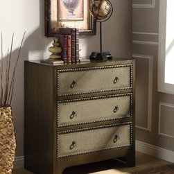 Transitional Light Brown 3-Drawer Accent Cabinet - This magnificent Accent Cabinet features durable and functional design and 3 drawers. Each drawer is adorned with nailhead trim accent, linen textured drawer front and stylish ring pulls. Finished in light brown.
