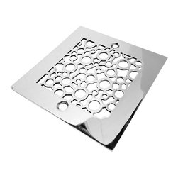 "Designer Drains - Bubbles Shower Drain, Polished Stainless Steel - Polished Stainless Steel drain made to fit Oatey drain roughs.  Measures 1/16"" thick x 4-3/16"" square x 3-3/8"" center to center of the fasteners. Made in U.S.A."