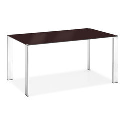 Zuo Modern - Slim Dining Table Espresso - Clean, simple, and elegant, the Slim dining table has a painted tempered glass top with four basic squared chrome steel tube legs. One of our best tables that highlight any style of chair put around it.
