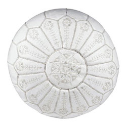 """Pre-owned Embroidered Leather Pouf - White on White - Authentic Moroccan hand-made leather hassock commonly known as Poof is made out of genuine soft leather and has an exquisite detailing on the top. The pouf is so practical, it can be used in many ways: as footstool, a low seat around the coffee table, in your children room, or even doubling up as a quick side table. This pouf is pre-stuffed with recycle thread and fabric. This provides comfort and durability for the poufs. Zippered bottom opening for easy stuffing.    Measurement: 21.5"""" D x 12"""" H    This leather is a natural material - minor flaws and imperfections are characteristic of these materials and methods, and only add to the beauty and character of our collection."""