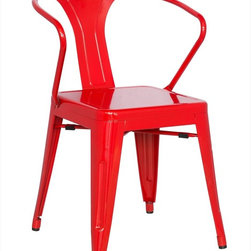 "Chintaly Imports - Alfresco Galvanized Steel Side Chair in Red - Set of 4 - Alfresco Galvanized Steel Side Chair in Red - Set of 4; Galvanized steel; Indoor and Outdoor use; Fully assembled; Multi Color Options; Dimensions:20.08""W x 21.65""D x 30.91""H"