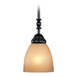 Mini-Pendant Light with Amber Glass -
