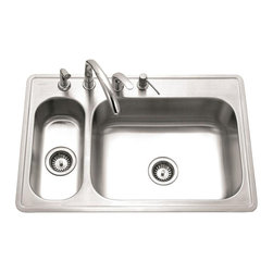 Houzer - Legend 80-20 Double Bowl Sink - Large main bowl with a built-in prep bowl offers versatility in a small space.