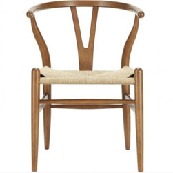 Wegner Wishbone Style Chair - CH24 Y-Chair in Walnut - Designed in 1949 by Denmark's foremost furniture designer Hans Wegner, the original Wishbone Chair was inspired by classical portraits of Danish merchants sitting on Chinese Ming chairs and is considered one of his most distinguished designs from his prolific portfolio of more than 500 pieces.