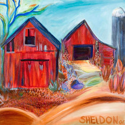 "2 Red Barns with Silo - Original Acrylic Landscape Painting - This bright, 20"" x 20"" acrylic on canvas features a colorful Vermont barn scene and pays homage to the vanishing rural countryside."