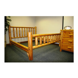 """Moon Valley Rustic - 212 -Moon Valley Slat Bed - Features: -Made in the USA.-Sturdy doweled construction.-Constructed of white cedar.-Gloss Finish (Finish: Unfinished): No.-Gloss Finish (Finish: Amber Varnish): Yes.-Finish (Finish: Unfinished): Unfinished.-Finish (Finish: Amber Varnish): Amber Varnish.-Hardware Finish: Weather Resistant Finish.-Frame Material: White Cedar.-Solid Wood Construction: Yes.-Upholstered: No.-Number of Items Included: 1.-Hardware Material: Stainless Steel.-Non Toxic: No.-Scratch Resistant: No.-Joinery Type: Tight Dowel Construction.-Mattress Included: No.-Box Spring Required: No.-Headboard Storage: No.-Footboard Storage: No.-Underbed Storage: No.-Slats Required: No.-Center Support Legs: No.-Adjustable Headboard Height: No.-Adjustable Footboard Height: No.-Wingback: No.-Trundle Bed Included: No.-Attached Nightstand: No.-Cable Management: No.-Built in Outlets: No.-Lighted Headboard: No.-Finished Back (Finish: Unfinished): No.-Finished Back (Finish: Amber Varnish): Yes.-Reclaimed Wood: No.-Distressed: No.-Bed Rails Included: Yes.-Collection: Bedroom Furniture.-Country of Manufacture: United States.-Eco-Friendly: Yes.-Recycled Content: No.-Wood Moldings: No.-Canopy Frame: No.-Hidden Storage: No.-Jewelry Compartment: No.-Weight Capacity: 1600 lbs.-Swatch Available: Yes.-Commercial Use: Yes.Specifications: -FSC Certified: No.-EPP Compliant: Yes.-CPSIA or CPSC Compliant: Yes.-CARB Compliant: Yes.-JPMA Certified: No.-ASTM Certified: No.-ISTA 3A Certified: No.-PEFC Certified: No.-General Conformity Certificate: No.-Green Guard Certified: No.Dimensions: -Overall Height - Top to Bottom (Size: Queen): 48"""".-Overall Height - Top to Bottom (Size: King): 48"""".-Overall Width - Side to Side (Size: Queen): 68"""".-Overall Width - Side to Side (Size: King): 84"""".-Overall Depth - Front to Back (Size: Queen): 90"""".-Overall Depth - Front to Back (Size: King): 90"""".-Overall Product Weight (Size: Queen): 212 lbs.-Overall Product Weight (Size: King): 233 lbs.-Headboard Di"""